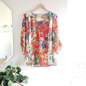 Anthropologie Fig and Flower Orange Top Size XL